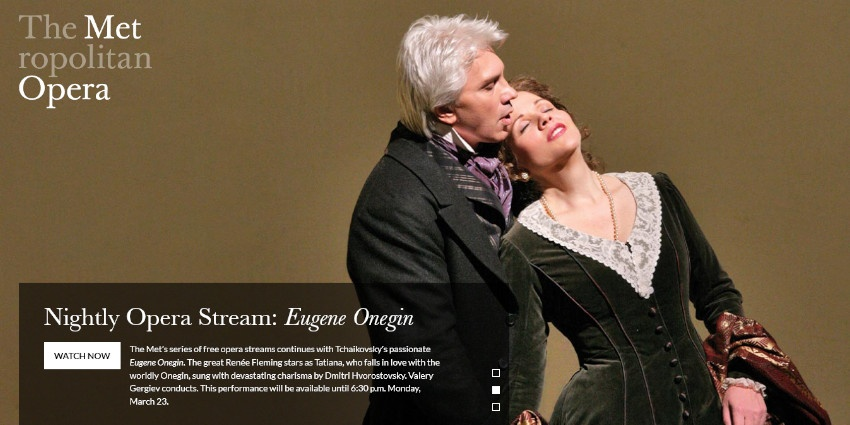 The Met's series of free opera streams - Tchaikovsky's passionate Euege Onegin